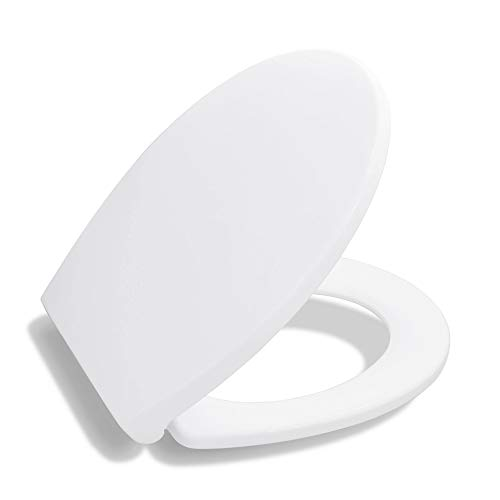 Toilet Seat Round BATH ROYALE BR620-00 White Premium Round Toilet Seat Slow Close, Replacement Toilet Seat Fits All Toilet Brands...