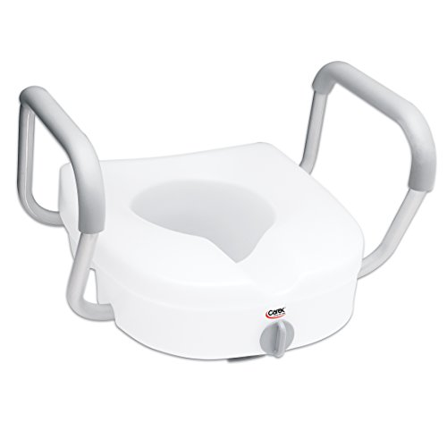 Carex E-Z Lock Raised Toilet Seat with Handles - 5...