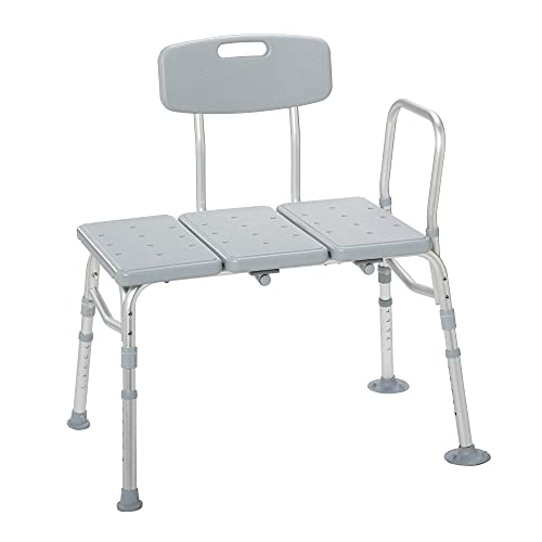 Drive Medical 12011KD-1 Plastic Tub Transfer Bench with Adjustable Backrest (Color May Vary), Gray