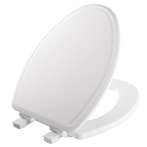 MAYFAIR 1848SLOWB 000 Toilet Seat will Slow Close, Never Loosen and Easily Remove, ELONGATED, Durable Enameled Wood, White