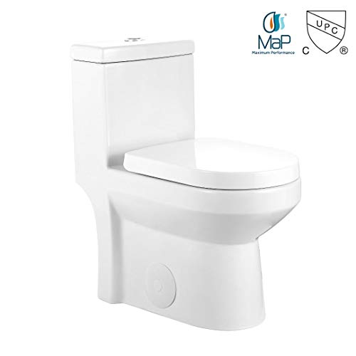 GALBA Small Toilet 24.5' Long X 13.5' Wide X 28.5' High Inch 1-Piece 24' 25' Short Compact Bathroom Tiny Mini Commode Water Closet...
