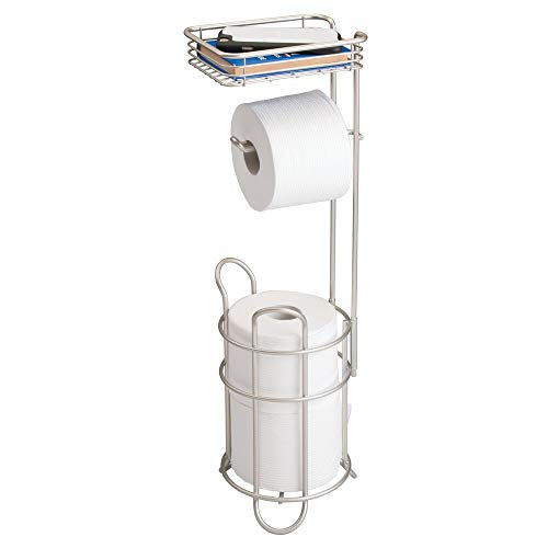 mDesign Freestanding Metal Wire Toilet Paper Roll Holder Stand and Dispenser with Storage Shelf for Cell, Mobile Phone - Bathroom...