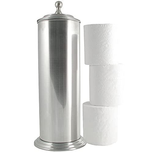 LDR Industries 164 6456BN Ashton Free Standing Regular Size Roll Toilet Paper Holder Canister, Brushed Nickel
