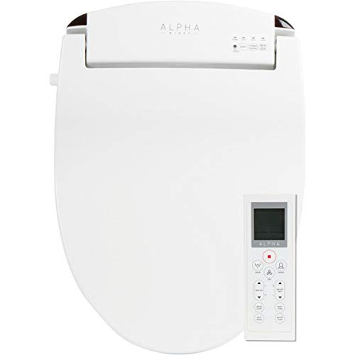 ALPHA JX Round Bidet Toilet Seat, White, Endless Warm Water, Rear and Front Wash, LED Light, Quiet Operation, Easy Wireless Remote...