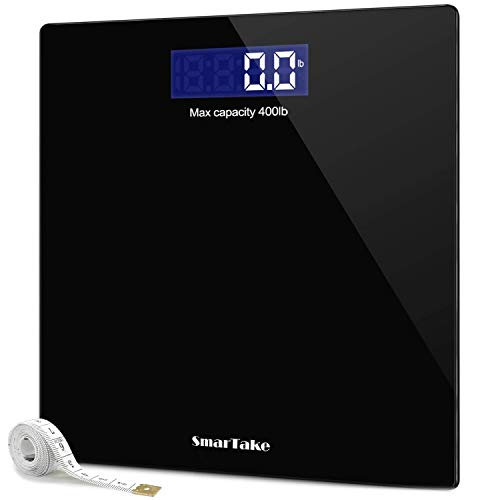 Weight Scale, SmarTake Precision Digital Body Bathroom Scale with Step-On Technology, 6mm Tempered Glass Easy Read Backlit LCD...