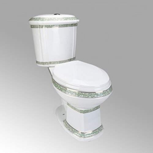 Deluxe Two Piece Elongated Toilet Push Button ADA WaterSense Porcelain India Reserve Design Renovators Supply Manufacturing