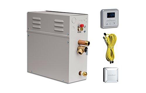 EliteSteam 10 KiloWatt Luxury Home Steam Shower System (Steam Shower Generator, Control, Steam Head, and Cable) (Brushed Nickel...