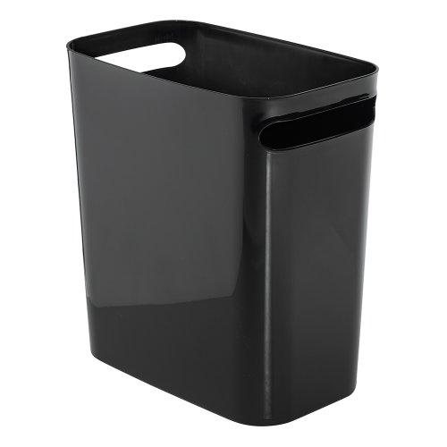 iDesign Una Rectangular Trash Handles, Waste Basket Garbage Can for Bathroom, Bedroom, Home Office, Dorm, College, 12' Inch