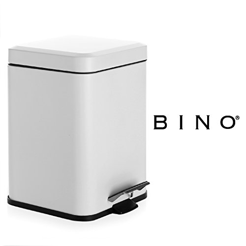 BINO Stainless Steel 1.6 Gallon / 6 Liter Square Step Trash Can, Matte White