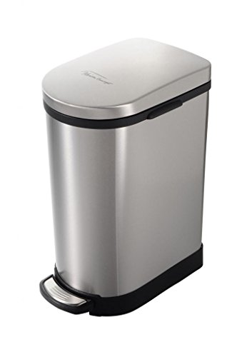 Heim Concept Step Trash Can with Slow Down Close, 2.6-Gallon, Brushed Stainless Steel