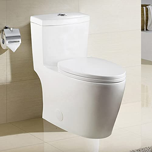 WinZo WZ5028 Elongated One Piece Toilet, Dual Flush 0.8 /1.6 GPF, 17-Inch ADA Comfort Height with Soft Closing Seat White