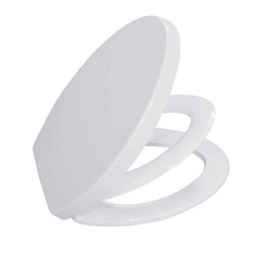 Adult Child Toilet Seat ELONGATED BATH ROYALE BR631B-FFP White, Kids Toilet Seat for Potty Training, Slow Close Easy Cleaning,...