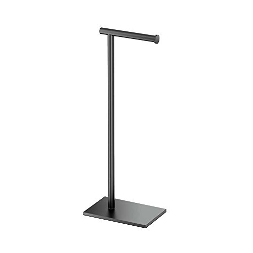 Gatco 1431MX Modern Square Base Toilet Paper Holder Stand, Matte Black, 22.25'H