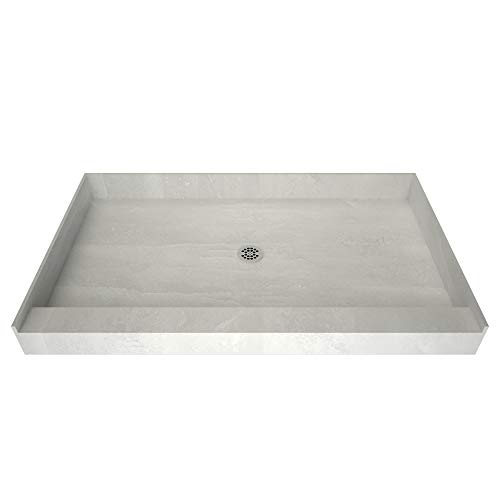 Redi Base Integrated Shower Pan with Center Drain – Single Curb, Polished Chrome, 2-Inch PVC Drain and Plate Included, 48' Wide...