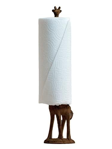 Paper Towel Holder or Free Standing Toilet Paper Holder- Cast Iron Giraffe Paper Holder - Versatile and Decorative Bathroom Toilet...