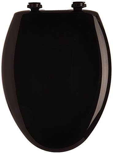 Bemis 1200SLOWT 047 Slow Sta-Tite Elongated Closed Front Toilet Seat, Black, 18.75 x 14.00 x 2.31 inches