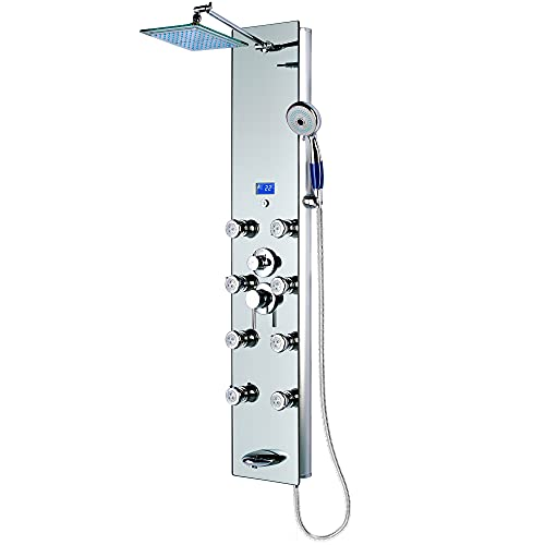 Blue Ocean 52' Aluminum SPA392M Shower Panel Tower with Rainfall Shower Head, 8 Multi-functional Nozzles