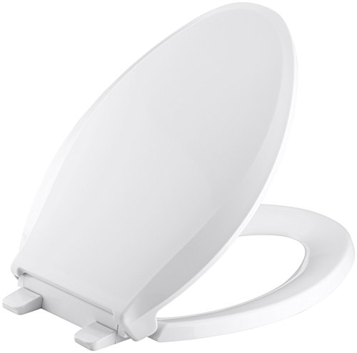 KOHLER K-4636-0 Cachet Elongated White Toilet Seat, with Grip-Tight Bumpers, Quiet-Close Seat, Quick-Release Hinges, Quick-Attach...