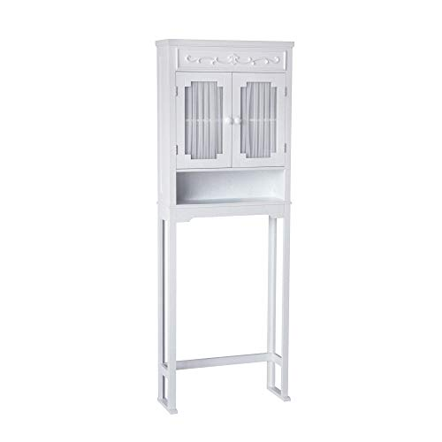 Elegant Home Fashions Lisbon Above Over the Toilet Tall Slim Bathroom Organizer Space Saver Freestanding Cabinet with 2 Curtained...