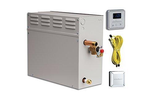 EliteSteam 15 KiloWatt Luxury Home Steam Shower System (Steam Shower Generator, Control, Steam Head, and Cable) (Brushed Nickel...