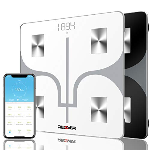 REDOVER-Bluetooth Body Fat Scale with Free IOS and Android App, Smart Wireless Digital Bathroom Scale for Body Weight, Body Fat,...