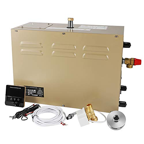 CGOLDENWALL 6KW Commercial Self-Draining Steam Generator Shower System Sauna Bath Home SPA 30 min to 12 Hours with Waterproof...