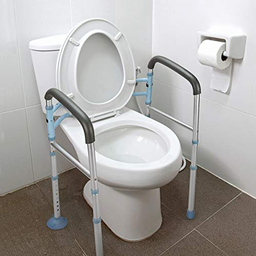 OasisSpace Stand Alone Toilet Safety Rail - Heavy Duty Medical Toilet Safety Frame for Elderly, Handicap and Disabled - Adjustable...