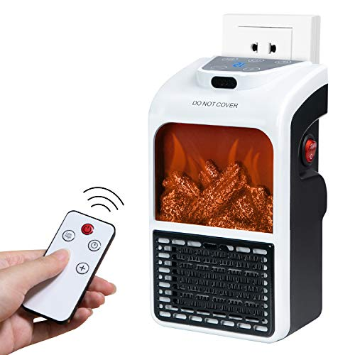 Minetom 450W Plug in Space Heater with Touch Display Screen & Fireplace Flame Effect, Portable Electric Mini Room Heater as Seen...