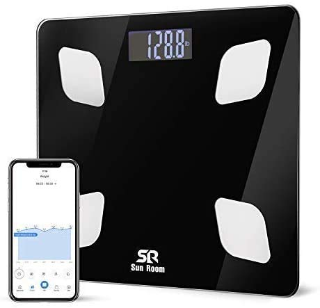 Bluetooth Body Fat Scale- Wireless Digital Bathroom Weight Scale- SR SunRoom Smart BMI Scale with 12 Essential Measurements...