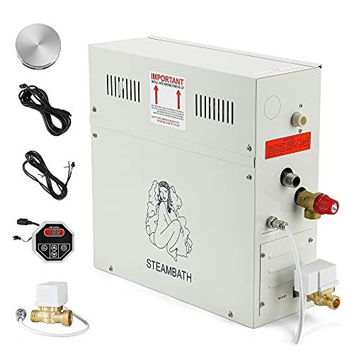 CGOLDENWALL 6KW Luxury Self-draining Steam Generator Shower Sauna Bath Home Steam Bath Spa Generator with waterproof Control and...