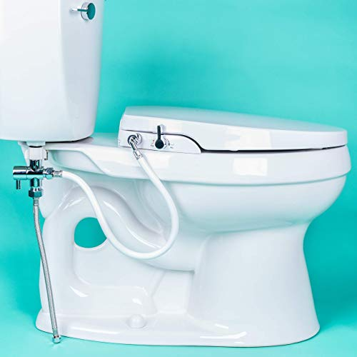 GenieBidet [ELONGATED] Seat-Self Cleaning Dual Nozzles. Rear & Feminine Cleaning - No wiring required. Simple 20-45 minute...
