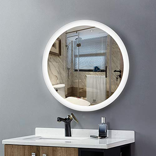 LED Lighted Vanity Bathroom Mirror, Wall Mounted + Anti Fog & Dimmer Touch Switch + IP44 Waterproof + 5500K Cool White +3000K Warm...