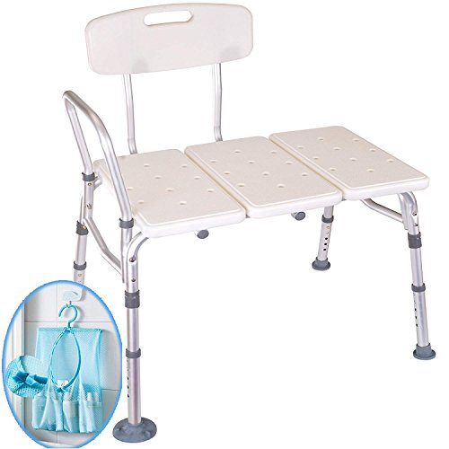 Medokare Shower Transfer Bench Seat – Over Tub Transfer Bench Shower Chair for Elderly, Handicap Transfer Bench for Adults,...