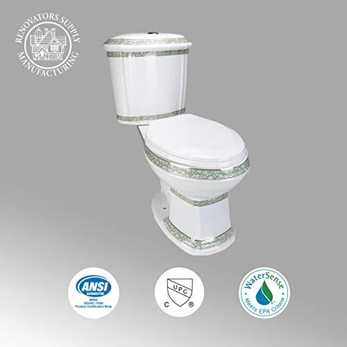 Renovators Supply India Reserve Elongated Two Piece Bathroom Toilet - Modern Upscale Dual Flush Push Button 0.8 GPF/1.6 GPF...