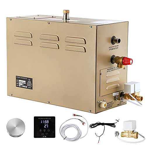CGOLDENWALL 6KW Commercial Self-Draining Steam Generator Shower System Home Steam Bath Spa Generator 30 min to 12 Hours with Auto...
