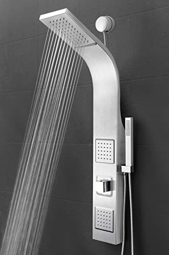 AKDY 39 Inch Wall Mount Easy Connect Rainfall Waterfall Multi-Function Shower Panel (Stainless Steel)