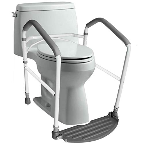 RMS Toilet Safety Frame & Rail - Folding & Portable Bathroom Toilet Safety Rails - Handrail Toilet Bars with Adjustable Height...