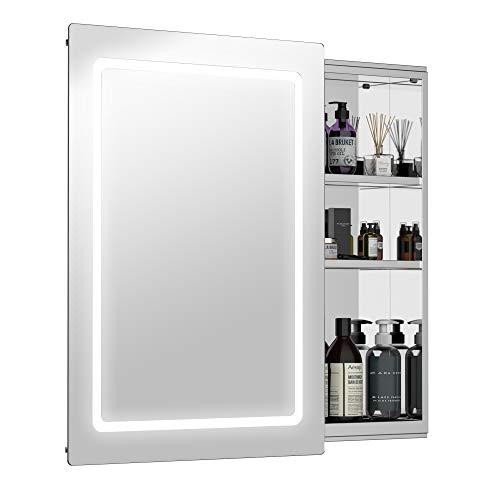 HOMCOM 30' LED Illuminated Wall Mirror Medicine Cabinet Bathroom Sliding Door Vertical Stainess Steel