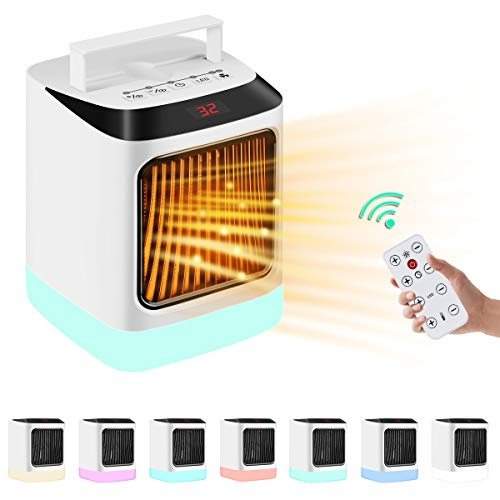 Electric Space Heater Small Indoor 1000W Portable Ceramic Heaters For Office Use,Desktop,Bathroom,with Remote Control,Adjustable...