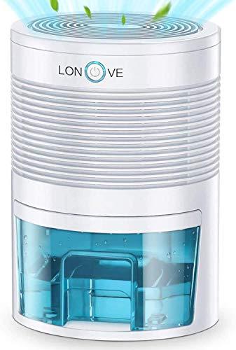 LONOVE Dehumidifier - 2200 Cubic Feet Small Dehumidifiers for Home Bedroom Bathroom Basement Closet RV Camper, 800ml (27 oz) Full...