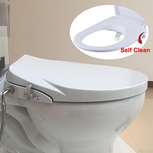 Hibbent Non Electric Toilet Bidet Seat - American Round Toilet Seats - No Electricity Bathroom Bidets Dual Nozzles Sprayer for...