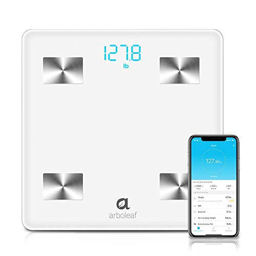 Arboleaf Digital Scale - Bluetooth Smart Scale Bathroom Weight Scale, 10 Key Composition, iOS Android APP, Unlimited Users, Auto...