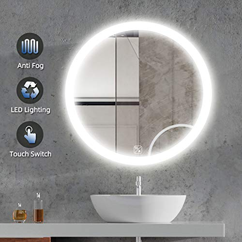 SL4U 24 Inch Round LED Wall Mirror with Lights | Bathroom Vanity Make Up Mirror with Touch Button and Defogger | YSJ-A004