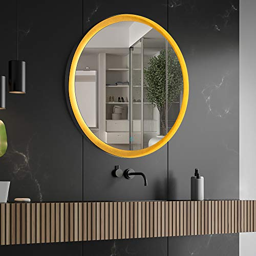 CITYMODA 24inch Round Mirror with Light, LED Bathroom Wall Mounted Mirror, Black Metal Frame Mirror, Gold Vanity Mirror, Memory...
