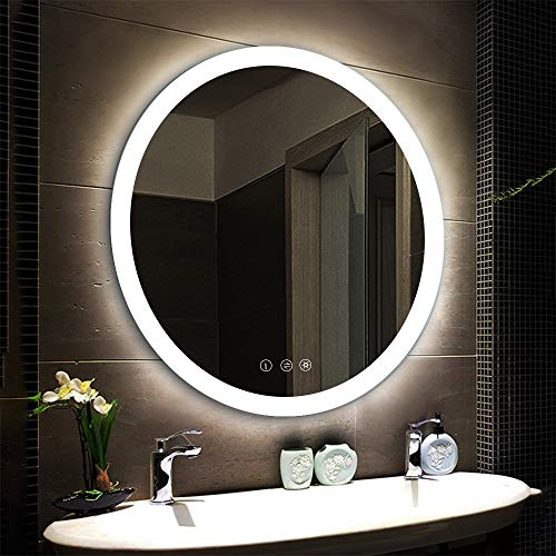 LED Lighted Vanity Bathroom Mirror, Wall Mounted + Anti Fog & Dimmer Touch Switch + UL Listed + IP44 Waterproof + 5500K Cool White...