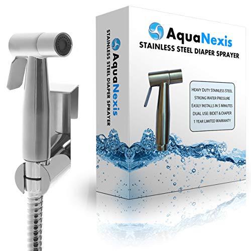Aqua Nexis Premium Stainless Steel Bidet Sprayer, Hand Held Beday and Toilet Sprayer, Cloth Diaper Sprayer