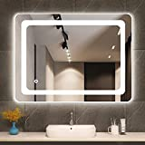 Cozy Castle Bathroom Mirror with LED Lights Lighted Makeup Vanity Mirror Wall Mounted Backlit Frameless Large Size 32x24 inch...