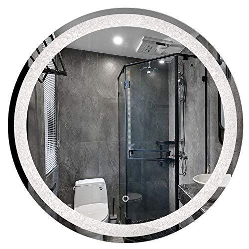 MAGGIIC 30 INCH Round LED Bathroom Light Vanity Mirrors Anti-Fog+IP44 Waterproof +CRI90+UL Listed