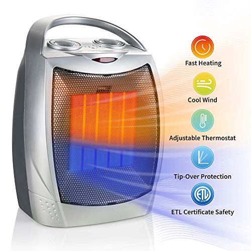 750W/1500W Ceramic Space Heater, Electric Portable...