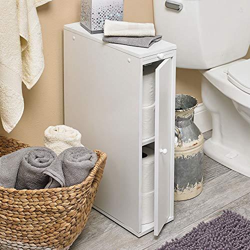 Bathroom Cabinets 24' Wood Slim Bathroom Cabinet Stand - White